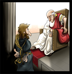 Jesus and pilate illustration